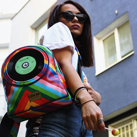 Mini backpack with integrated 7 inch vinyl record | LOLLYPOP