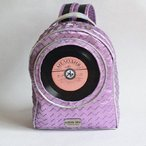 Pre-order | Mini backpack with integrated 7 inch vinyl record | HOLO PINK