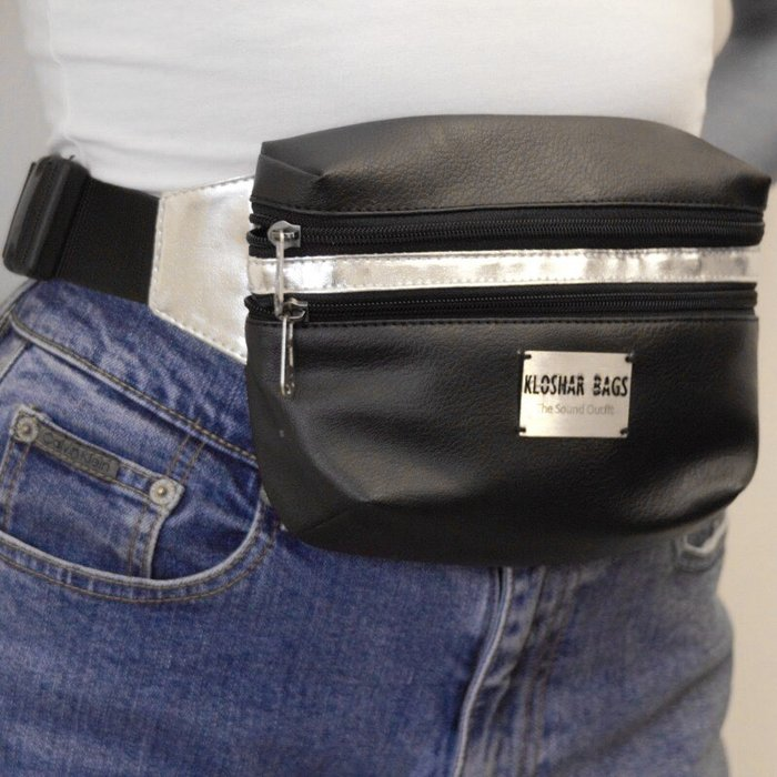 FANNY PACK in Black and Silver